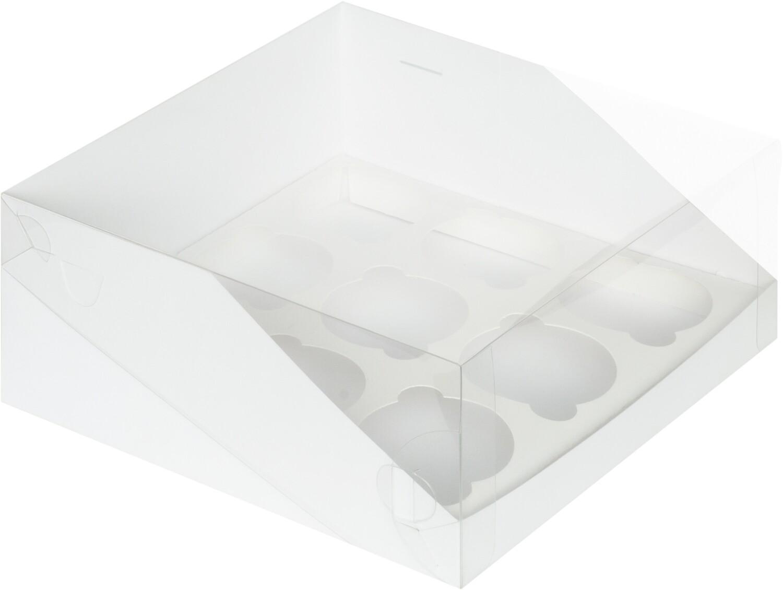 коробка для 9 капкейков белая с панорамным окном 235х235х110