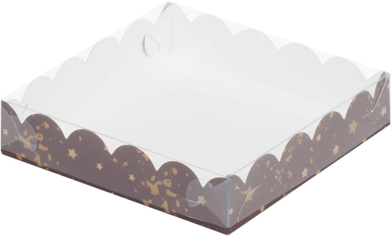 Коробочка для печенья 20х12х3.5 см коричневая со звездами