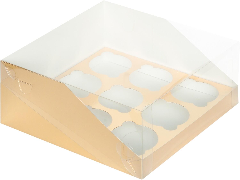 коробка для 9 капкейков ЗОЛОТО с панорамным окном 235х235х110