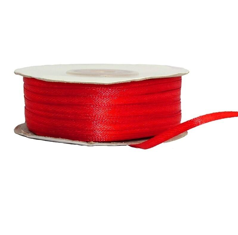 Лента атласная красная 3 мм.