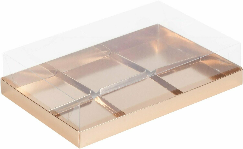Коробка под муссовые пирожные с пластиковой крышкой 260*170*60мм на 6 шт. золото