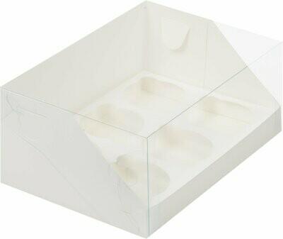 коробка для 6 капкейков белая с панорамным окном 235х160х100