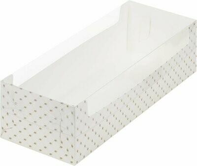 Упаковка для рулета белая с птичками с пластиковой крышкой 30х11х8 см