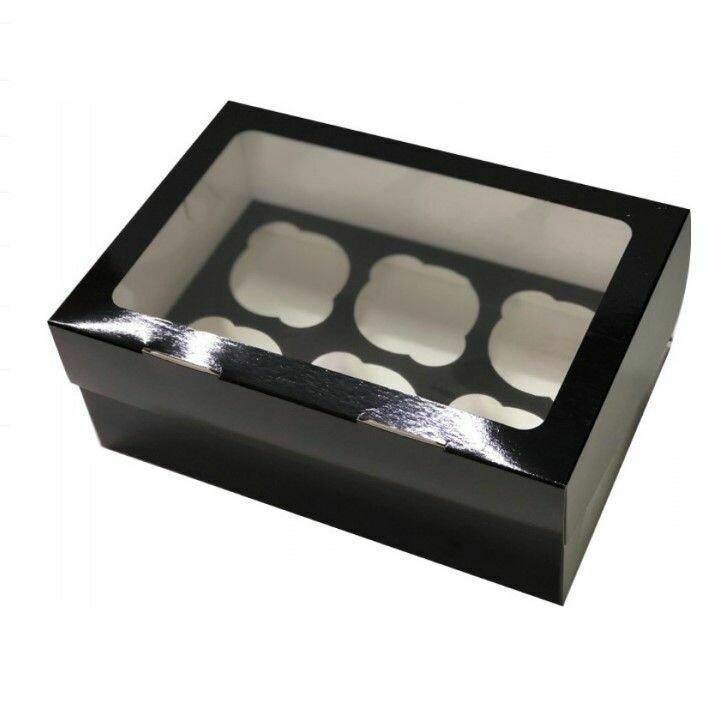 Упаковка для 6 капкейков Black Edition двусторонняя Pasticciere 25х17х10 см