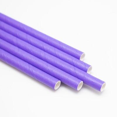 Трубочки бумажные Фиолетовые 19,5см 10 шт.