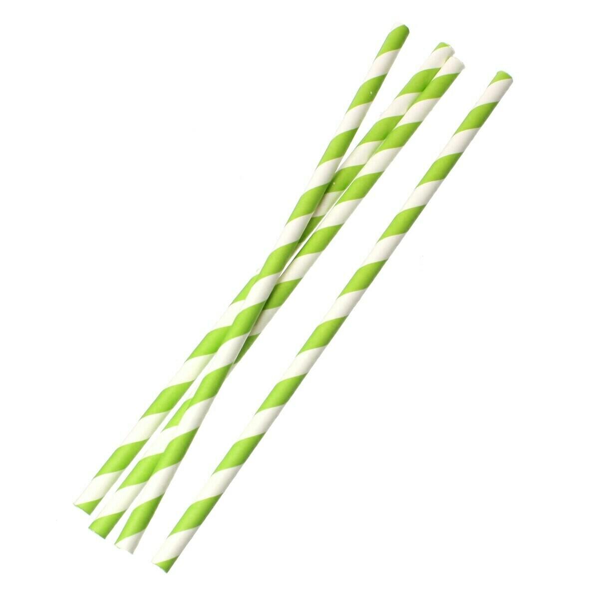 Трубочки бумажные Бело-зеленые 19,5см 10 шт.