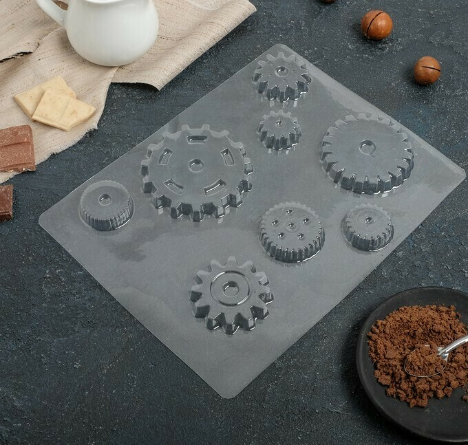 Форма для шоколада «Шестеренки», 8 ячеек, 24×18,5×1 см пластик