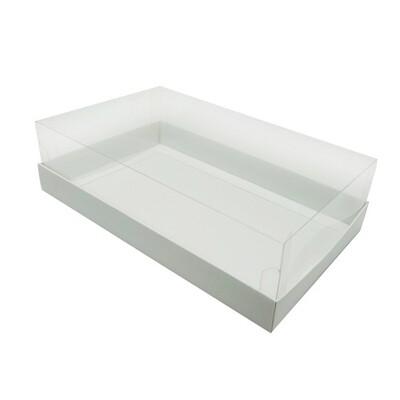 Коробка для больших макаронс с прозрачной пластиковой крышкой 250*150*70 мм.