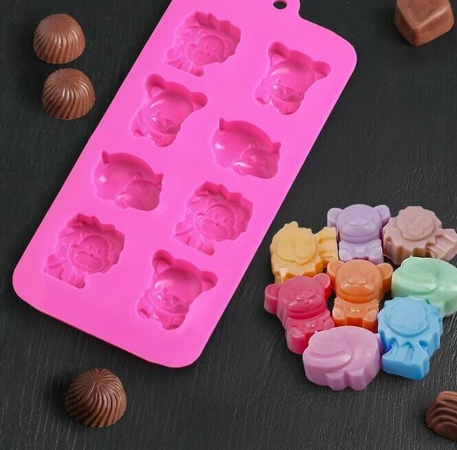 Форма для  шоколада Зоопарк , 8 ячеек, 22×12×3 см