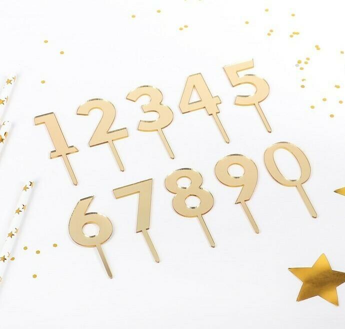 Набор топперов на торт «Цифры», 10 шт, 8×3 см, цвет золото