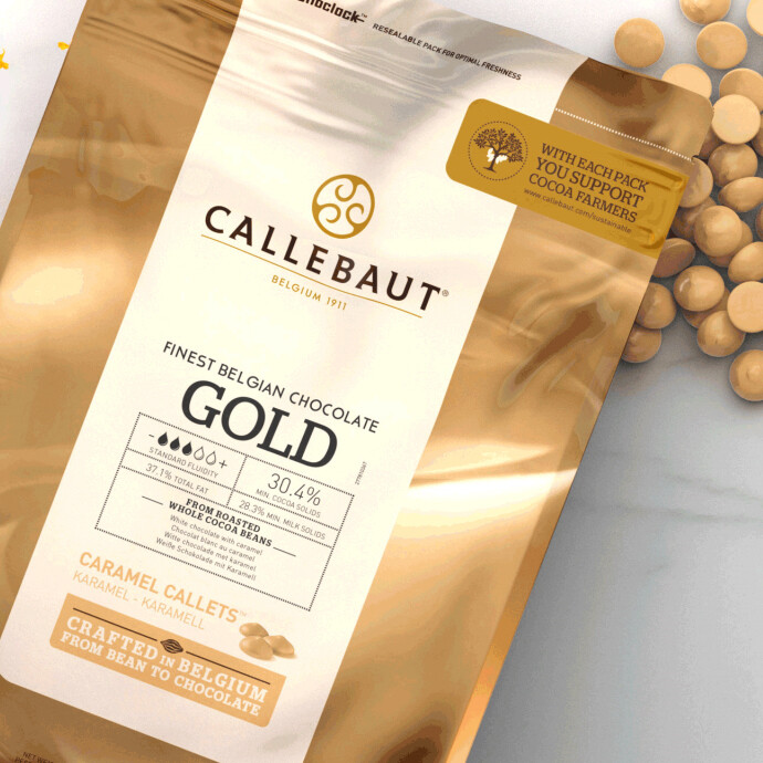 Шоколад CALLEBAUT GOLD БЕЛЫЙ С КАРАМЕЛЬЮ 30,4% 200 гр
