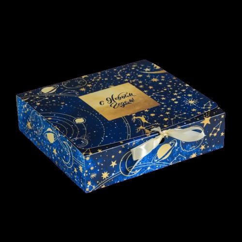 Коробка подарочная «Тепла и уюта», 20 × 18 × 5 см синяя светлый бант