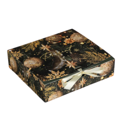 Коробка подарочная «Сказочного нового года», 20 × 18 × 5 см черная светлый бант