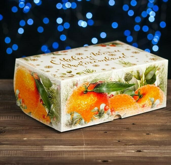 "Коробка картонная на 6 капкейков ""Апельсины"" ,БЕЗ ОКНА 25 х 17 х 10 см"