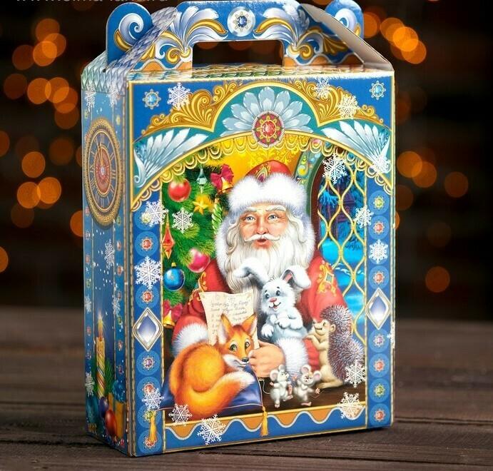 """Коробка для новогоднего подарка """"Зверята """", 16,8 х 7 х 25 см"""