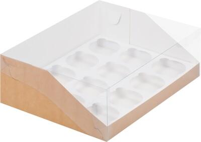 Упаковка для 12 капкейков крафт с панорамным окном