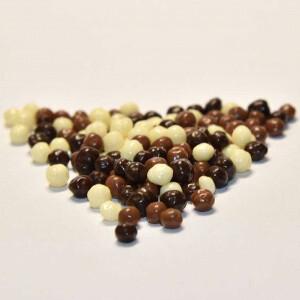 Шарики кранч в шоколадной глазури 100 гр. бело-коричневые