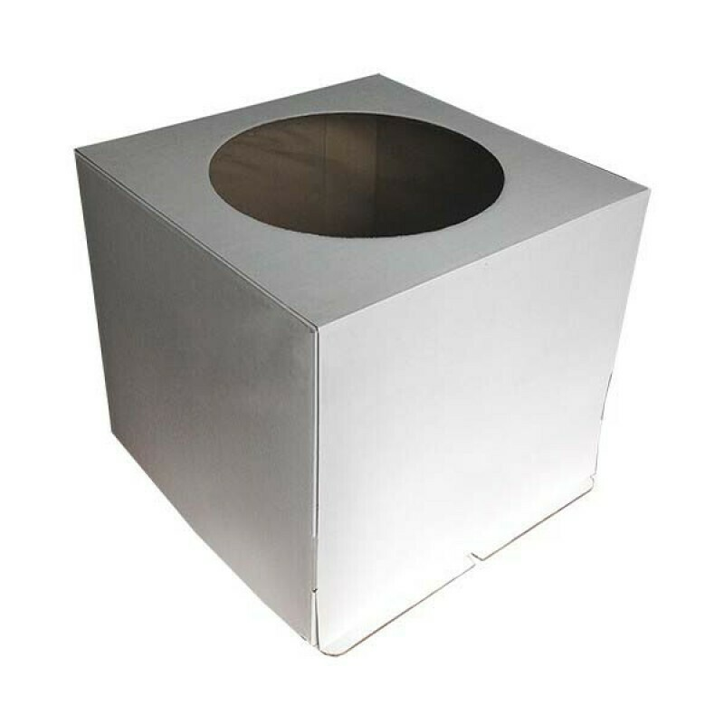 Коробка усиленная для торта гофрокартон с круглым окном  24х24х26 см