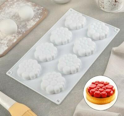 Форма для муссовых десертов и выпечки «Молекула», 30×17 см, 8 ячеек (6×1,5 см)