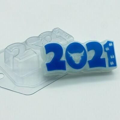 Форма пластиковая  2021 / Бык и следы