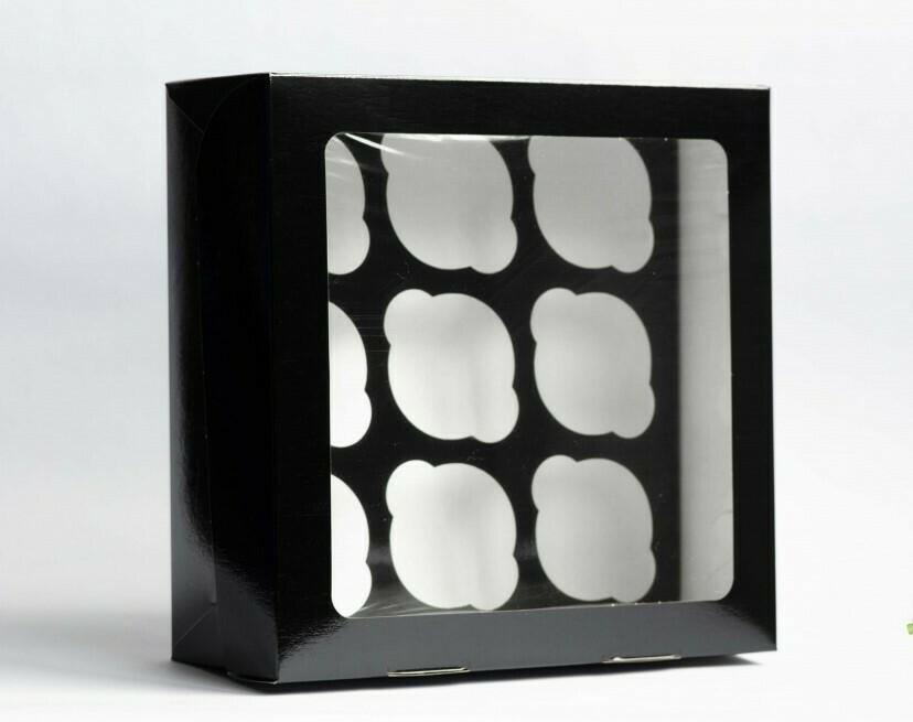 Упаковка для 9 капкейков двусторонняя с окном Pasticciere Black Edition 25х25х10 см