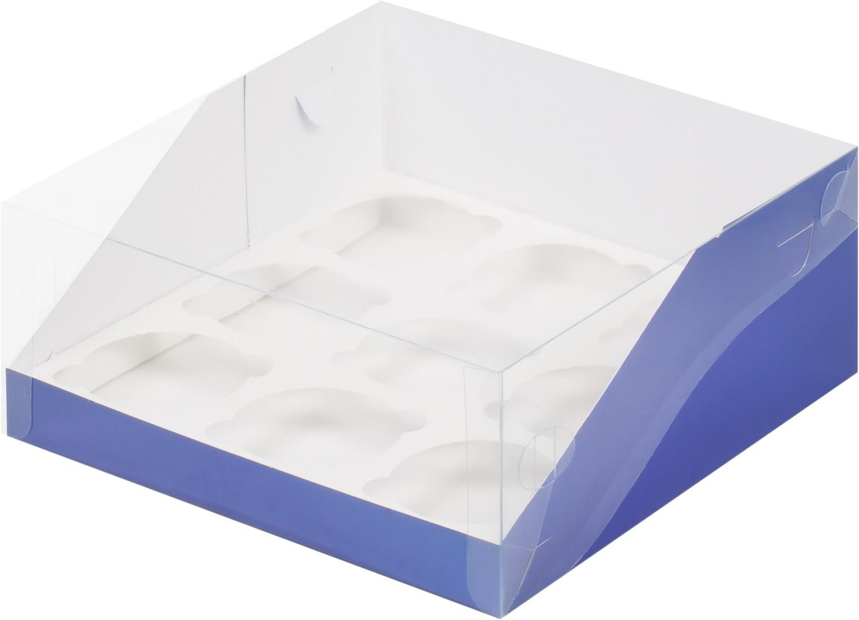 коробка для 9 капкейков СИНЯЯ с панорамным окном 235х235х110