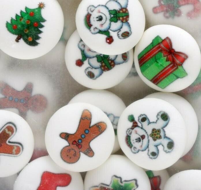 """Сахарные медальоны  """"Новогодние игрушки"""" 27 мм  10 шт."""