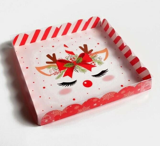 Коробочка для печенья Новогодний Единорог 21 × 21 × 3 см