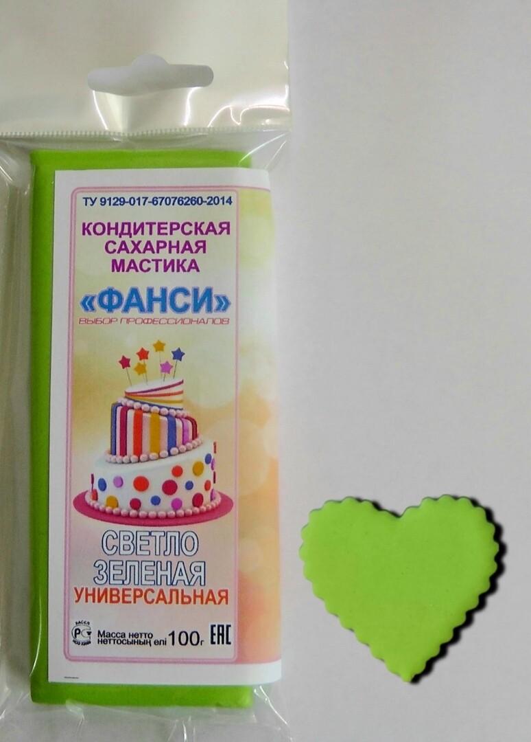 """Мастика """"Фанси"""" (100 гр) для обтяжки и лепки. Светло-зеленая"""