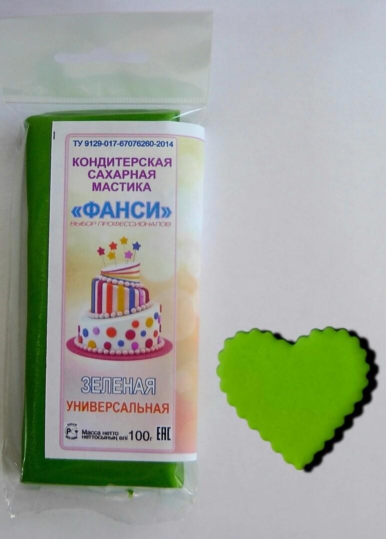 """Мастика """"Фанси"""" (100 гр) для обтяжки и лепки. Зеленая"""