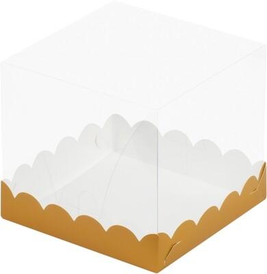 Коробка Премиум прозрачная золото 15х15х15см.