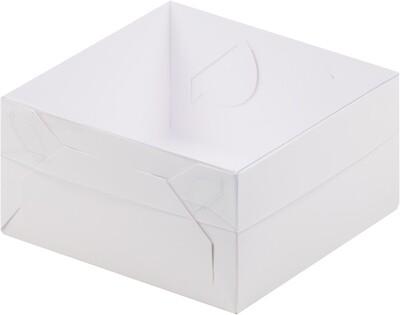 Коробка для зефира и пирожных с пластиковой крышкой 155*155*60 мм