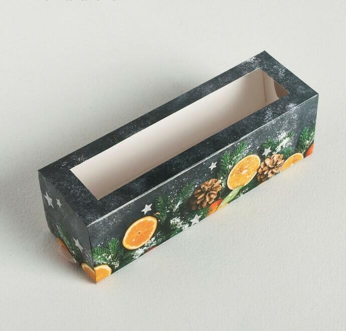 Коробочка для макаронс «Мандариновое настроение», 18 × 5.5 × 5.5 см