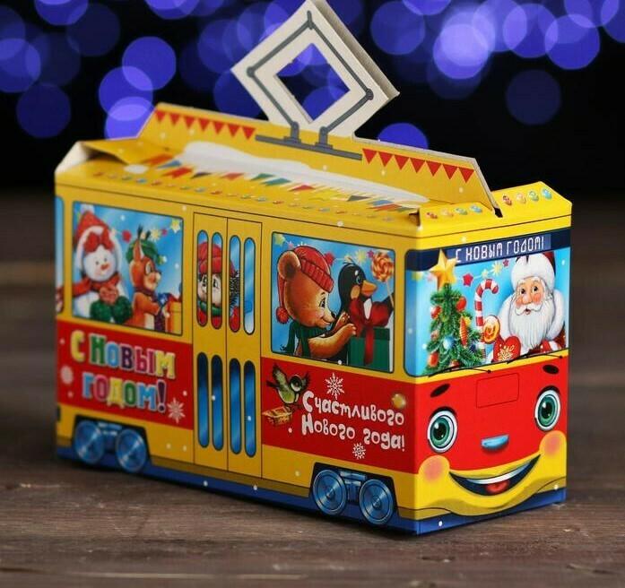 "Подарочная коробка ""Весёлый трамвайчик"", 11,6 х 17 х 7,5 см"