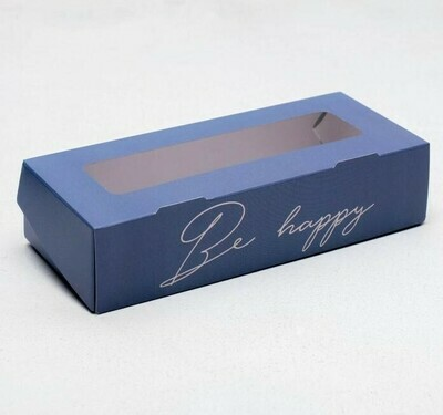 Коробка складная синяя  Be happy, 17 × 7 × 4 см
