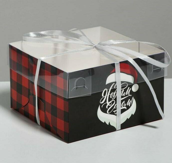 Коробка для 4 капкейков «С Новым годом! Борода», 16 × 16 × 10 см