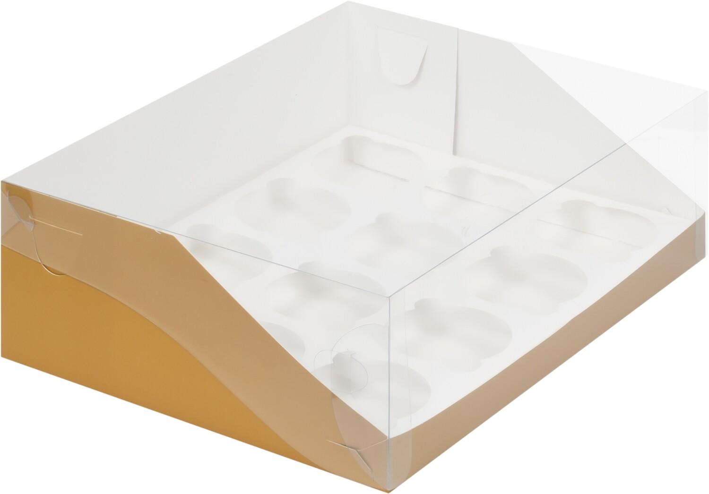 коробка для 12 капкейков золото 320х235х100
