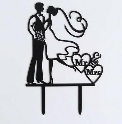 Топпер Пара на торт 12х12 см, цвет черный акрил
