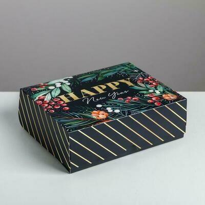 Коробка для сладостей «Happy New Year в полоску черная», 20 × 17 × 6 см