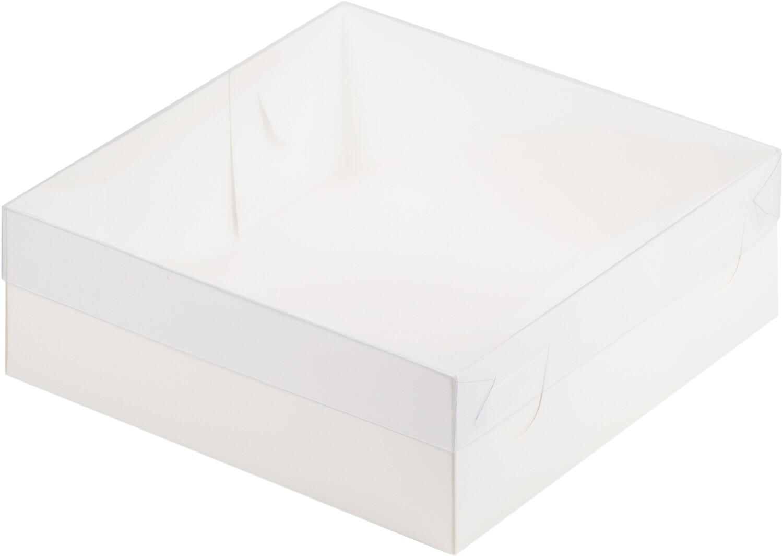 Коробка для зефира и пирожных белая с прозрачной крышкой 20*20*7