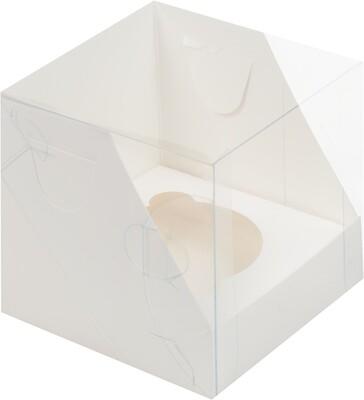 Коробка для 1 капкейка белая с пластиковой крышкой 10× 10 × 10 см