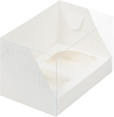 Коробка для 2 капкейков белая с пластиковой крышкой 16× 10 × 10 см