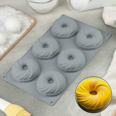 Форма для муссовых десертов и выпечки «Вихрь», 29,8×17,5 см, 6 ячеек