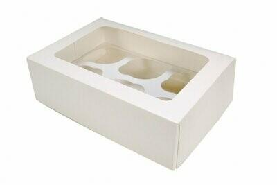 Упаковка для 6 капкейков белая с окном