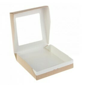 Коробка для пряников крафт/белый с окном. 195х195х48 мм