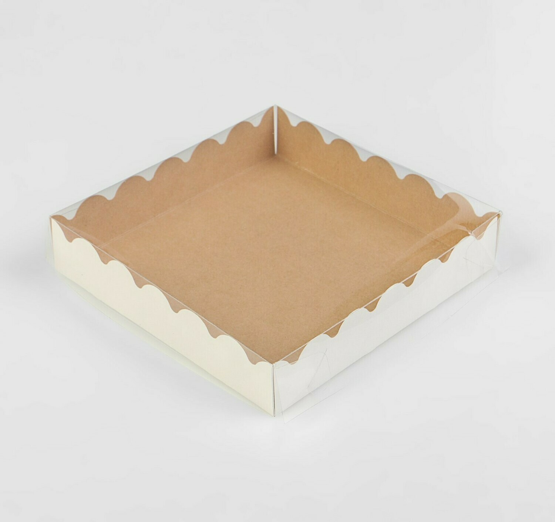 Коробочка для печенья 15х15х3 см крафт
