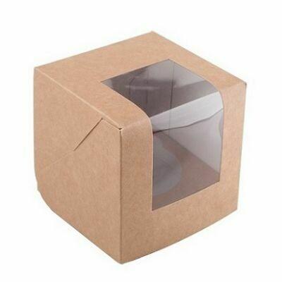 Коробка для 1 капкейка крафт 95×95×125 мм (БЕЗ ЛОЖЕМЕНТА)