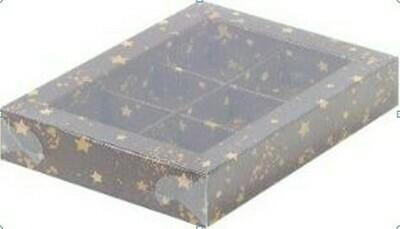 Коробка для конфет  6шт  КОРИЧНЕВАЯ СО ЗВЕЗДАМИ 155х115х30
