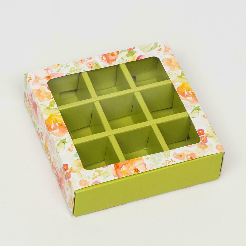 """Коробка под 9 конфет с обечайкой """"Весна"""" зеленая, с окном, 13,7 х 13,7 х 3,5 см"""