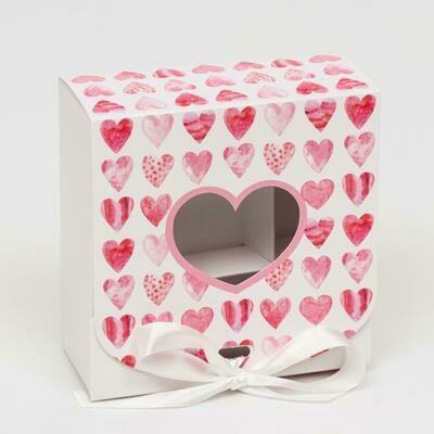 "Коробка на 9 конфет с окном ""Розовые сердечки"", 11,5 х 11,5 х 5 см"